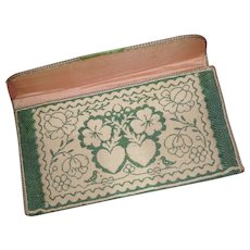 Exquisite antique French ladies green pocketbook : wallet :  2 hearts : birds : floral motifs Georgian period