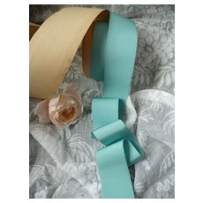 Pretty light blue old French fine gros grain type  ribbon : unused on original packaging : 2 YARD LENGTH : doll projects