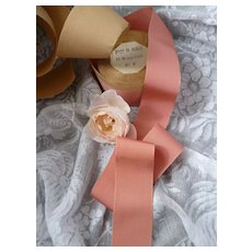 Pretty rose pink grosgrain type old French ribbon: unused on original packaging : doll projects :  2 YARD LENGTHS