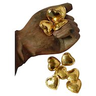 Set of 10 vintage French gold colored haute couture heart shape buttons