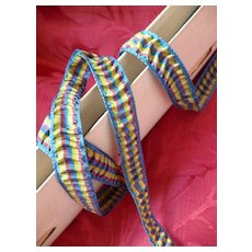Pretty blue , yellow , green & brick colored ruched ribbon : unused original packaging : doll project : 3 YARDS