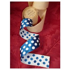 Pretty  blue and white  spotted French ribbon : old stock still on it's original  packaging : doll projects : 3 yards