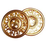 2 vintage French GIVENCHY  signed gold colored buttons : projects