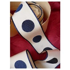 3 1/2 yards old French ivory and navy blue spotted grosgrain ribbon : unused : projects
