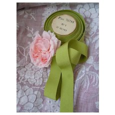 Lime green narrow grosgrain French ribbon : unused original packaging roll : doll projects : 3 YARD LENGTHS