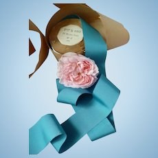 Turquoise blue French grosgrain ribbon : unused original packaging :  doll projects : 2 YARD LENGTH