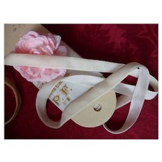 Ivory colored French silk velvet ribbon : unused old packaging  : doll projects : 2 YARD LENGTHS