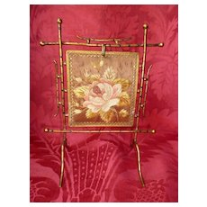 Rare 19th C. French charming miniature fire screen : silk embroidery panel : doll size