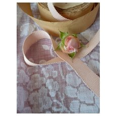 3 yards French narrow pale pink grosgrain ribbon : unused original old packaging roll : doll projects