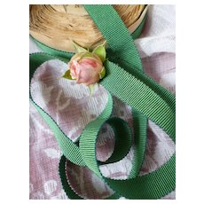 Pretty green narrow grosgrain French ribbon : unused original old packaging : doll projects : 3 YARD LENGTH