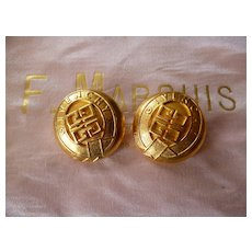 2 vintage French GIVENCHY  signed gold colored haute couture buttons : projects