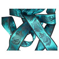 Striking turquoise and black old French unused shimmering silk ribbon : St Etienne  : 113 inches : projects