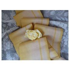 Pretty 19th C. French lemon & ecru silk taffeta ombre ribbon : doll projects :  102 inches long