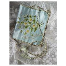 Beautiful antique French hand painted blue silk pochette : Debauve et Gallais : luxury chocolate makers Paris
