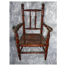 Charming antique French faux bamboo wooden hand caned dolls chair: circa 1880 - 1900