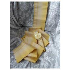 Pretty 19th C. French lemon  ecru silk taffeta ombre ribbon : doll projects : + 3yards