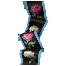 5 beautiful antique French silk ribbon textile bands : rose motifs : projects