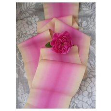 Superb old French fuchsia pink & ecru ombre silk taffeta ribbon : doll projects : 78 inches