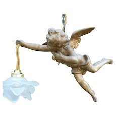 Charming antique French faded grandeur patinated spelter winged angel ceiling light