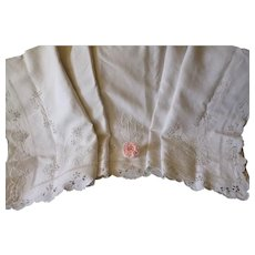Charming hand embroidered monogram French sheet : floral & foliage motifs : 88 1/2 inches wide : circa 1930