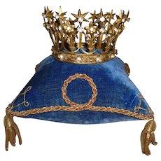 Bejeweled antique French religious santos crown tiara : star , flower & fleur de lys motifs
