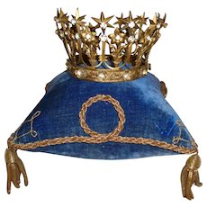 Bejeweled antique French religious santos crown tiara : star , flower & fleur de lys motifs