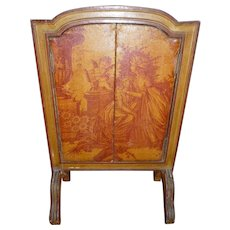 Faded grandeur antique French small screen : 18th C.style  bucolic scenes : cherubs : large doll size : 21 1/2 inches high