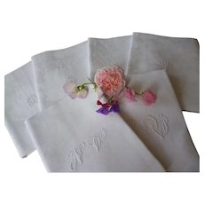 6 beautiful 19th C. French large hand monogrammed white linen damask serviettes
