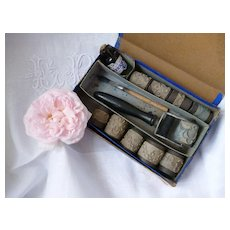Interesting 19th C.  French  roller embroidery kit : scallop edge roller patterns: floral motifs : marking linens