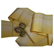 Superb old French lemon & ecru ombre silk taffeta ribbon : doll projects :  99 inches