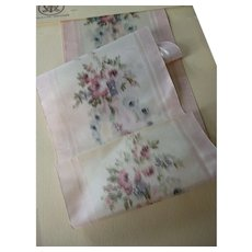 Pretty French pink silk taffeta ribbon : floral motifs : old stock sample