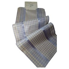 Pretty French blue & cream check silk taffeta ribbon : old stock sample : doll projects