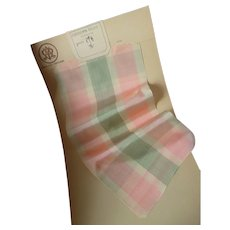 Pretty pink , green & cream check silk taffeta ribbon : old stock sample St Etienne : doll projects