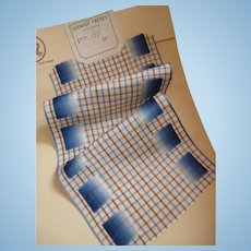 Unusual French blue & brown check ribbon with ombre velvet square motifs : old stock sample : doll projects
