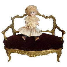 Elegant 19th C. French gilt bronze miniature sofa  : canape with padded velvet seat : doll accessory