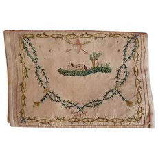 Exquisite French embroidered ladies silk pocketbook : wallet : spaniel dog : heart : amour motifs : Georgian era
