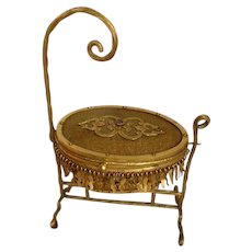 Adorable 19th C. French miniature gilt metal cradle jewelry box : faux jewel : doll accessory: Napoleon III