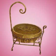 Adorable 19th C. French miniature gilt metal cradle jewelry box : faux jewel : doll accessory: Napoleon III