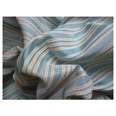 Pretty morceau antique striped blue & off white silk fabric : French fashion doll clothing project