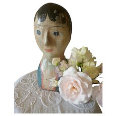 Wonderful Faded grandeur 19th century French carton milliners mannequin head : marotte