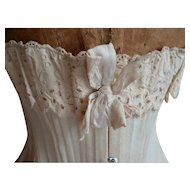 Curvy antique French cream corset : ribbon  : broderie anglais lace