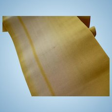 Superb 19th C French lemon and ecru unused ombre silk taffeta ribbon : doll projects : 100 inches long