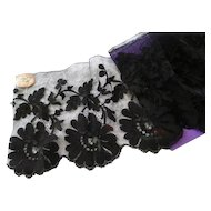 Delicious antique French black blonde de Caen style machine lace flounce : original shop label : 75 inches long