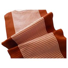 Pretty chocolate & white check silk taffeta ribbon : old St Etienne stock sample : doll projects