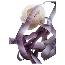 2 yards 19th C French ombre silk ribbon : mauve tones : doll projects