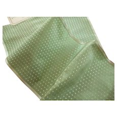 Pretty pale green silk taffeta ribbons with dot motifs : 2 old stock samples with original labels : doll projects