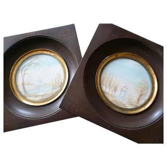 Pair elaborate 19th C. French blond hair art mourning memento frames : hearts : tomb : urn : weeping willow