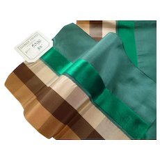 Unusual French green & brown check silk taffeta and velvet ribbons : old stock samples : sewing projects : collection