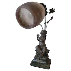 Charming old French spelter cherub child signed lamp : Hippolyte Moreau : roses