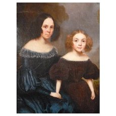 Charming 19th C. oil painting on canvas : portrait woman & young girl : unframed
